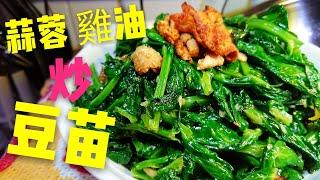 〈 職人吹水〉 豆苗清脆嫩 綠點樣炒? 雞油蒜蓉炒豆苗 Stir-fried Pea Shoots Garlic