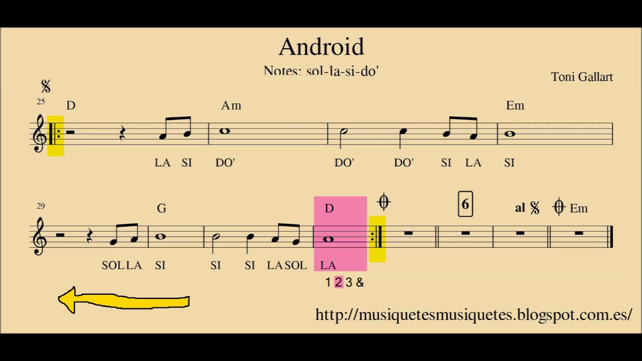 Android.  Partitura flauta, violín, oboe,... + audio. SI melodía. C instruments.