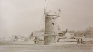 Landscape Pencil drawing of Norfolk windmill (timelapse)