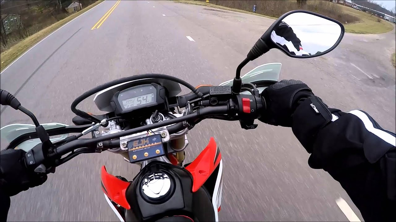CRF250L Supermoto Top Speed Run - 87MPH (+/- 2MPH) - YouTube