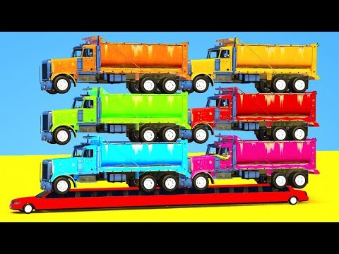 Learn Colors for Children w Cars Transportation Truck Vehicles - Spiderman for Kids & Superheroes