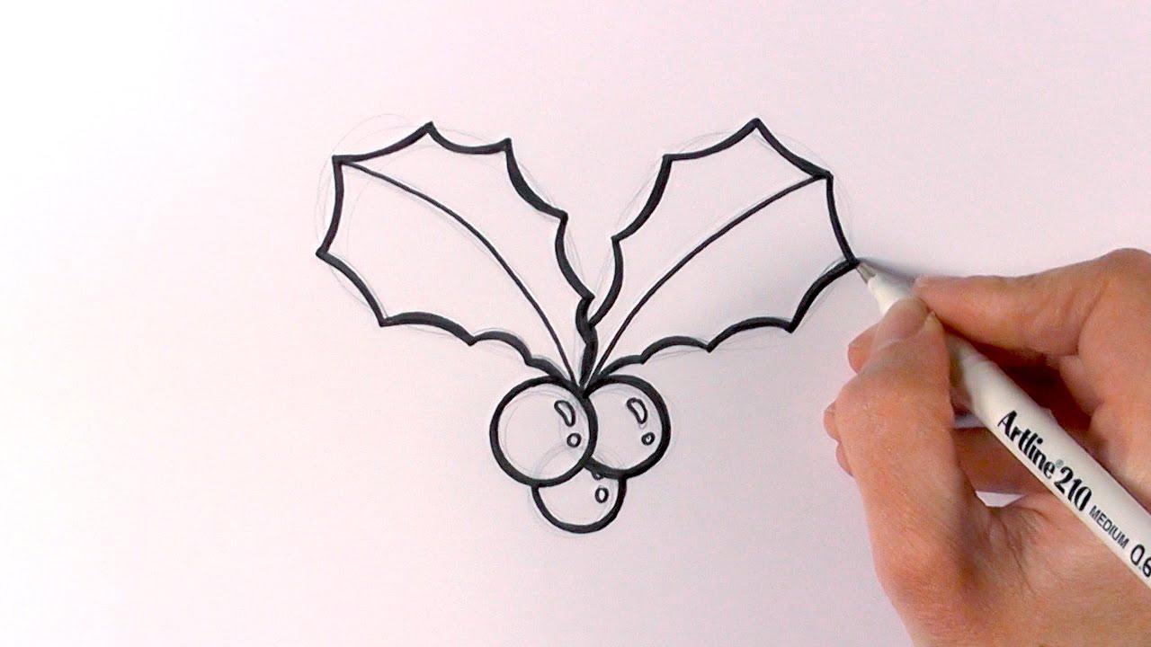 Christmas Cartoon Drawings.How To Draw Cartoon Christmas Mistletoe