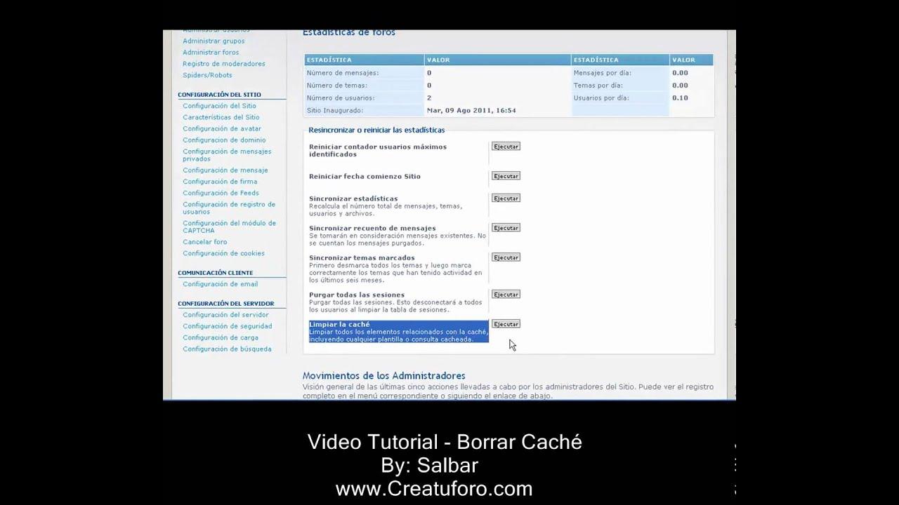 Limpiar cache - Creatuforo.com - Phpbb3 - YouTube