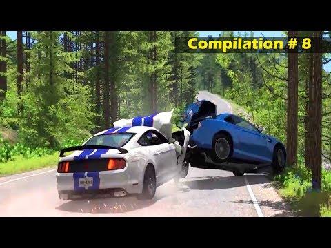Best High Speed Crashes Compilation Part # 8   Extreme Spike Strip   BeamNG Drive Car Crashes