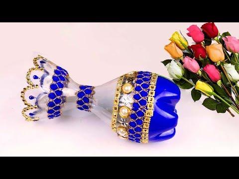 Flower Vase Out Of Waste Plastic Bottle / Make Easy Flower Vase at Home for Home Decor