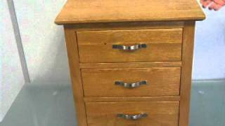 Devon Oak 3 Drawer Bedside Table