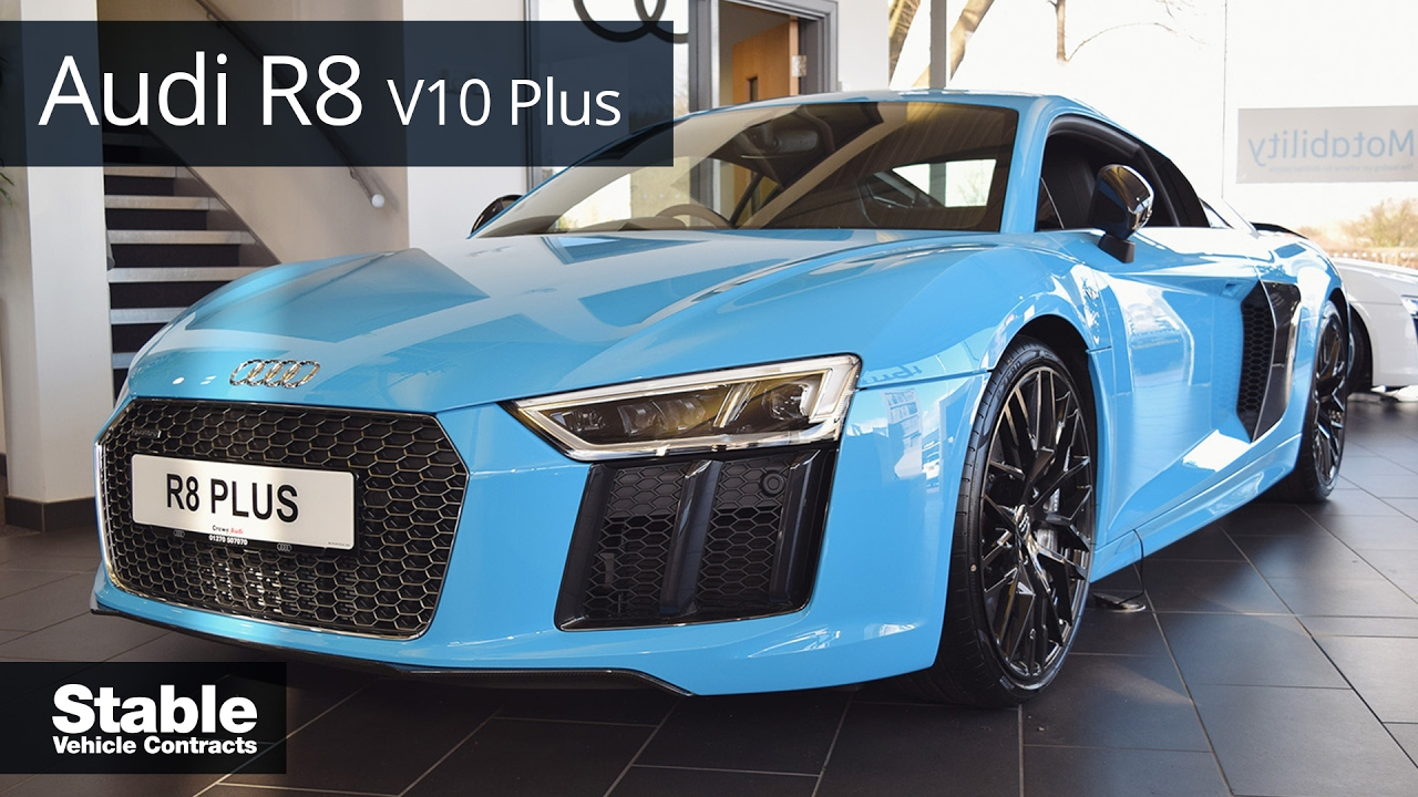 Audi R8 V10 Plus in Porsche Riviera Blue | Stable Lease - YouTube