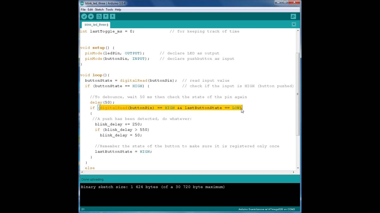 Arduino For Beginners More Advanced Pushbutton And Led Code Blink Circuit Walkthrough