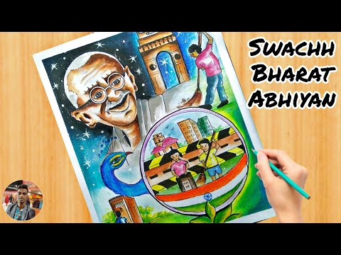 How To Draw Painting On The Topic Swachh Bharat Abhiyan Step By