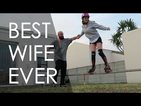MY WIFE DID HER FIRST GRIND ON A RAIL WITH ROLLER SKATES // VLOG 163