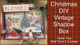 Dollar Tree Red Truck Shadow Box   Christmas Decor   Decoupage   Easy DIY