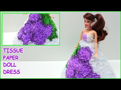 """DIY Doll Dress """"Grapes"""" with Tissue Paper- Doll Dress Fun"""