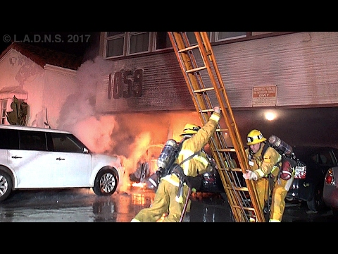 LAFD / West L.A. Carport Fire / Auto Fire in a Carport / Knockdown