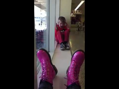 Luca falling off the window ledge at Tesco's.