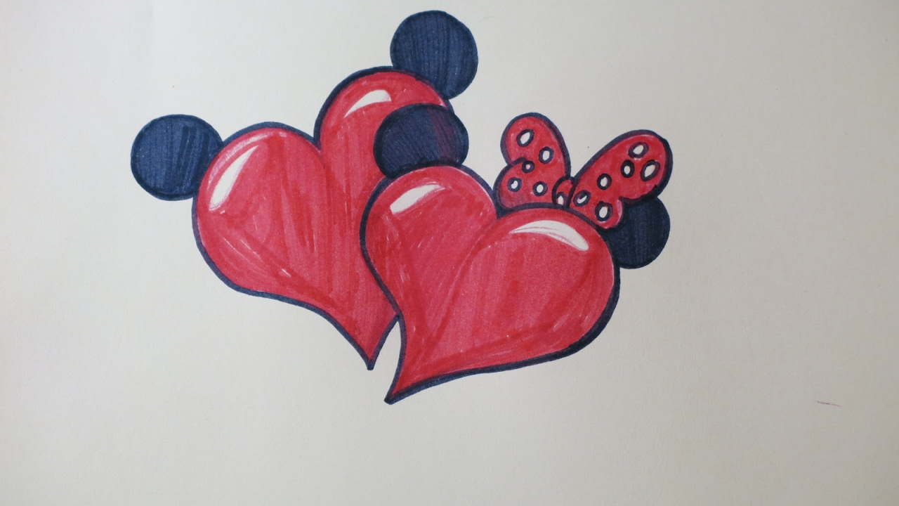 diy drawing hearts with minnie and mickeys ears cute