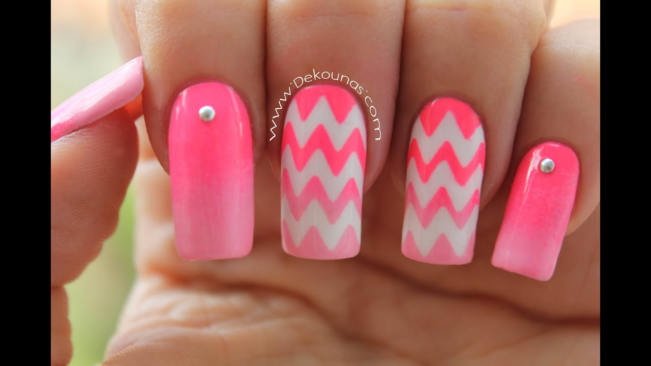 Decoración de uñas zig zag , chevron nails