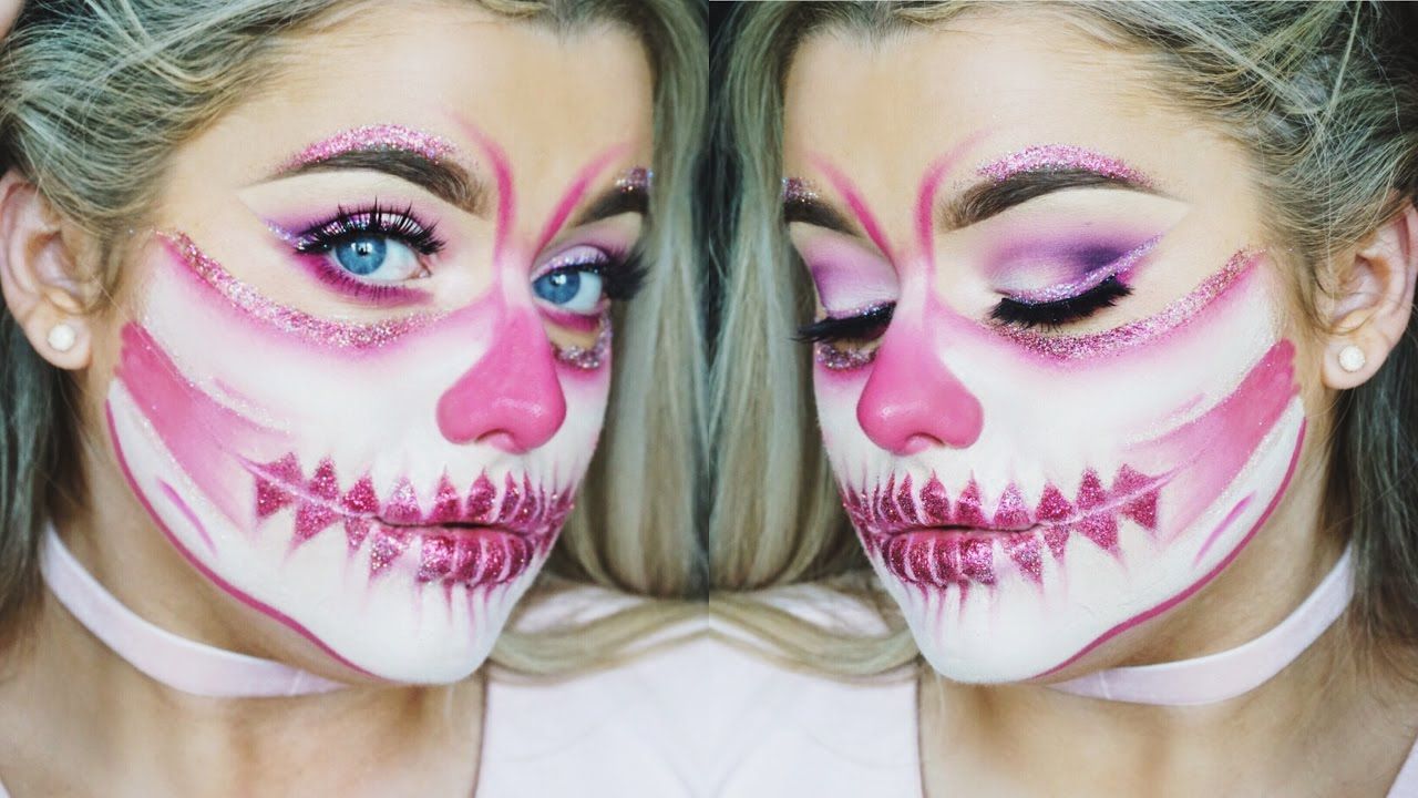 Half Face Pink Glitter Skull! Halloween Make up Tutorial | Rachel ...