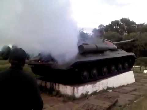 Ukraine. Pro-Russian activists repaired museum exhibit - tank IS-3.