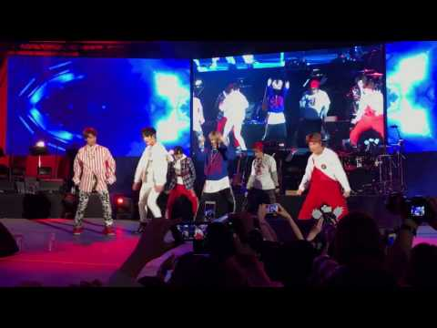 """NCT127 performing """"Fire Truck"""" at the 2017 Korea Times Music Festival at Hollywood Bowl"""
