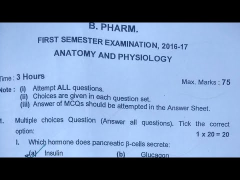B Pharma Human Anatomy And Physiology Question Paper