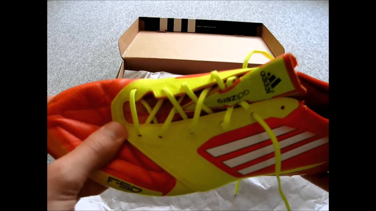 Adidas F50 Adizero TRX FG MiCoach Leather High Energy Electricity White  Unboxing HD - YouTube b01fd069d