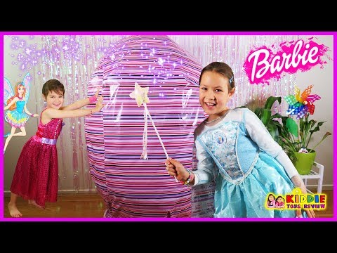 Barbie Giant Surprise Egg, Barbie Girl & Elsa Playing Barbie