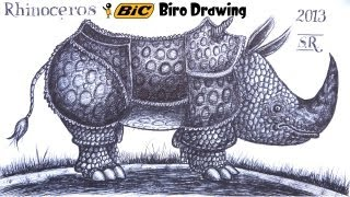 Draw a Rhino from memory in ballpoint biro pen!