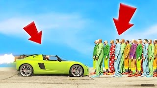 CAN 1 ROCKET CAR KILL 100 CLOWNS!? (GTA 5 Funny Moments) | JoblessGarrett