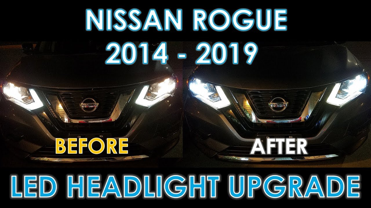 Before & After LED Headlight Bulb Upgrade on Nissan Rogue ...