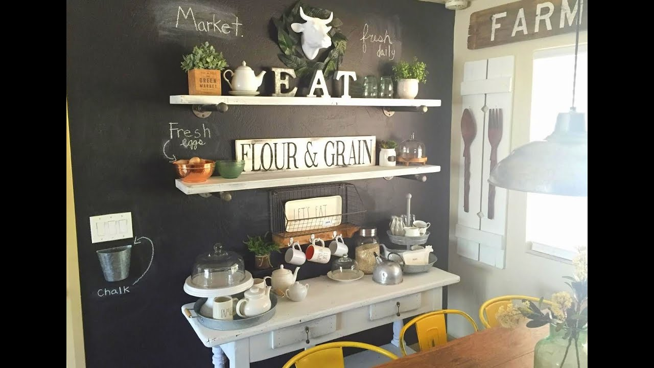 farm kitchen chalkboard wall and chalk painted table - youtube