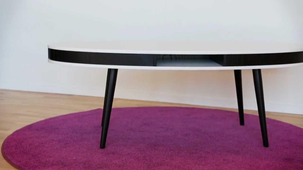 HUGO Soffbord Oval Vit Svart kant med Svarta Ben Furniturebox YouTube