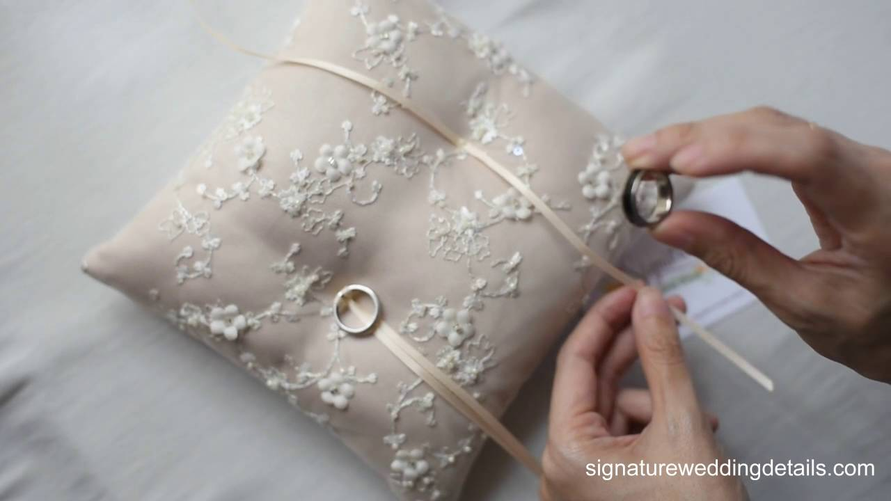 attaching wedding ring to your ring pillow part2