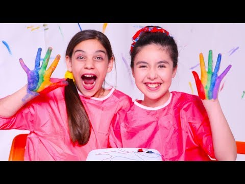 Learn Colors With Rainbow Hand Painting 🌈 Princesses In Real Life | Kiddyzuzaa