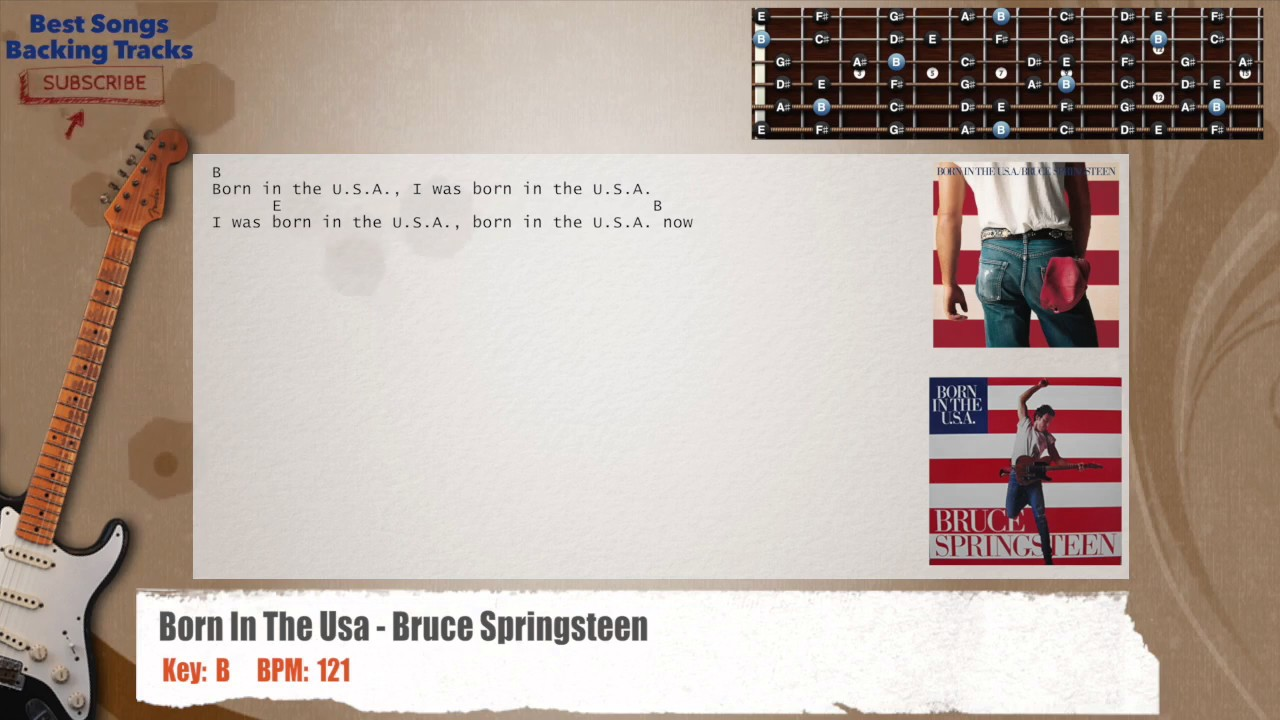 Born In The Usa Bruce Springsteen Guitar Backing Track With