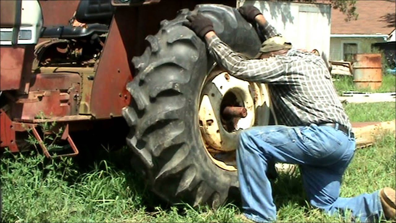 Mounting Tire on International Harvester 584 Farm Tractor
