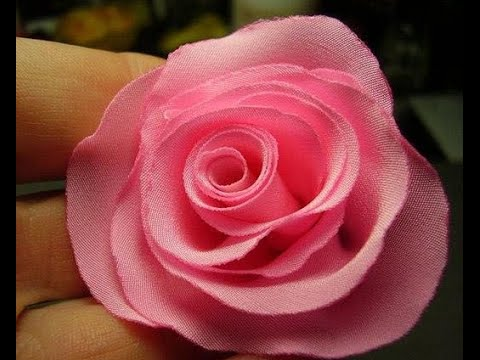 How To Make Rose Flower From Ribbon Cloth Tutorial Youtube
