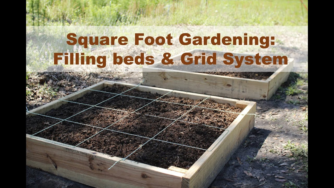 Raised Garden Bed Filling And Grid Tutorial Square Foot Gardening