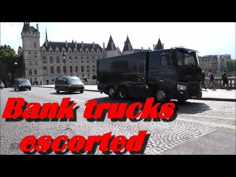 Bank Trucks Escorted By High Security Police Cars To Paris