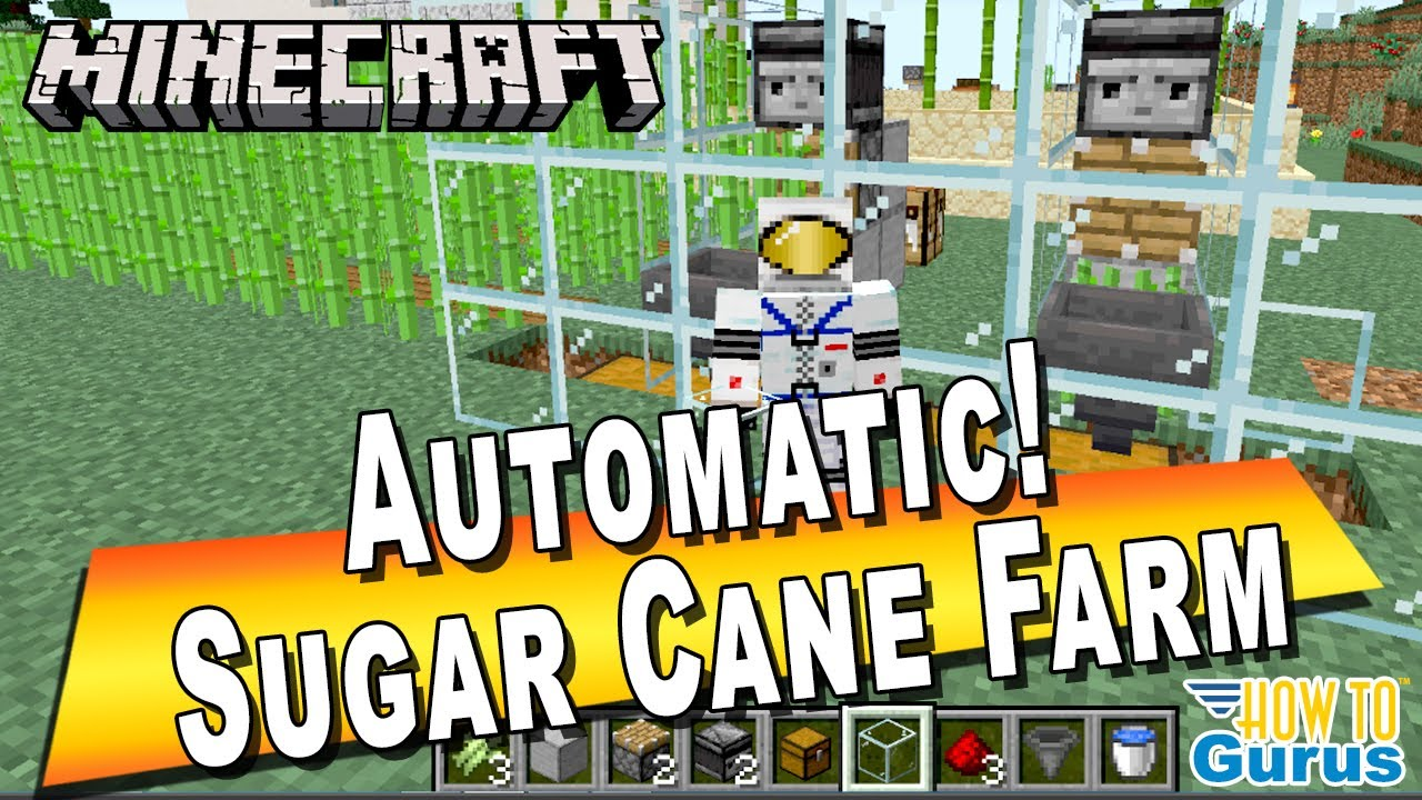 How To Make A Minecraft Sugar Cane Farm Automatic Using Observer Block Needed For Making Paper Youtube