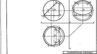 Начертательная геометрия 1 курс. Построить недостающие проекции сквозного отверстия в сфере