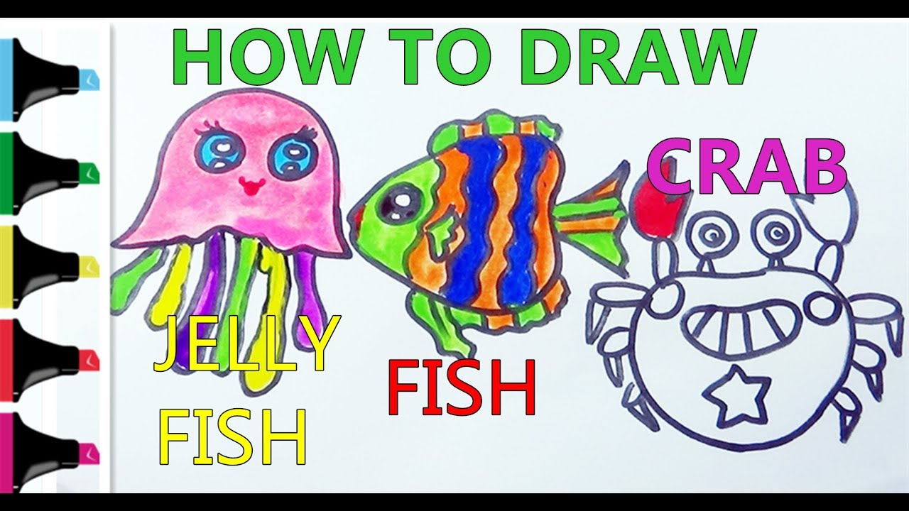 how to draw fish crab jellyfish and coloring sea fishes for kids