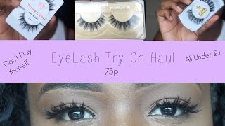 Mink Eyelashes For 75p?!(1 dollar) | Affordable Lashes&Try On Haul|aliexpress| Sandile Ngwenya