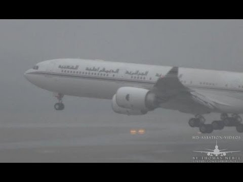 ✈[Full HD] A340-541 Government of Algeria BAD WEATHER Approach into Hamburg