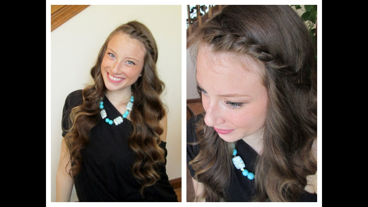 Hair Styles For Spring: Wavy Curls/ Front Twist Spring Hairstyle