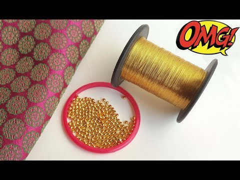 How to make designer fabric earrings using zari thread and gold beads