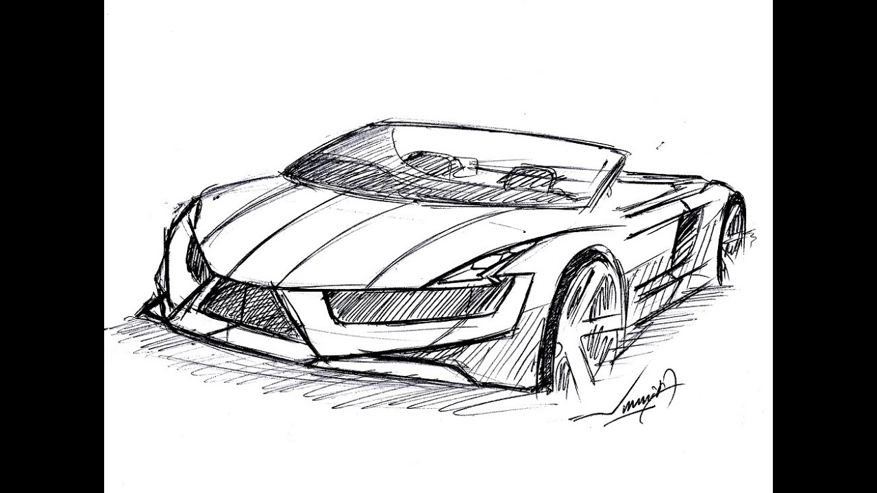 HOW TO DRAW A CONVERTIBLE SUPER CAR | DRAWN UNDER 9 MINUTES | BALL ...