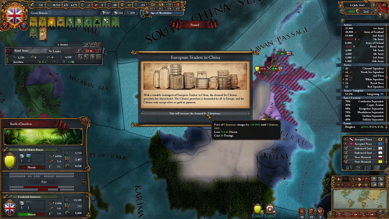 EU4 RULE BRITANNIA: NEW EVENTS - European Traders In China | Trade Goods  Price Changes Event