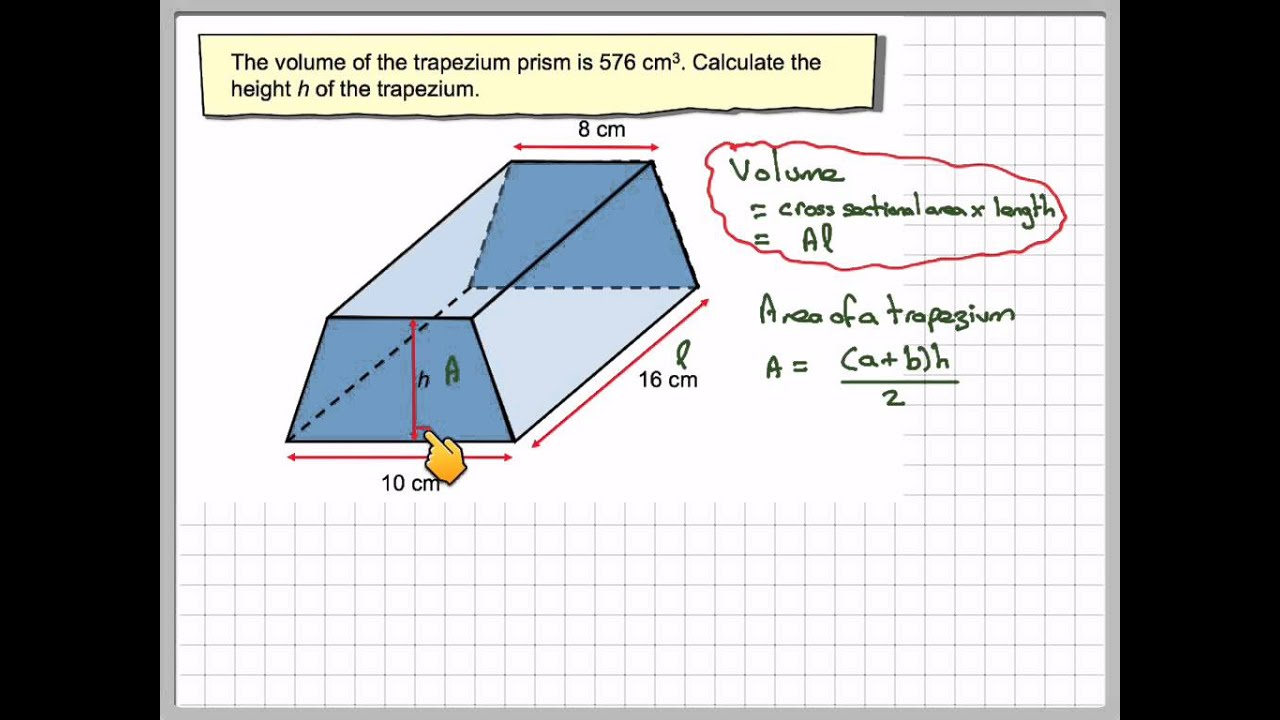 Finding The Height Of A Trapezium Prism