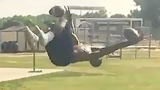 Running Back Catches 2 Footballs While Doing Backflip