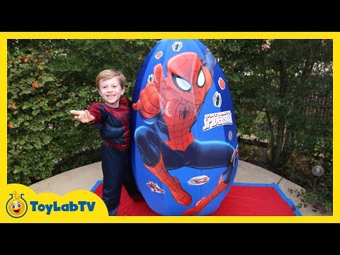 Biggest Spiderman Giant Surprise Egg Opening with Toys Unboxing & Family Fun for Kids on ToyLabTV